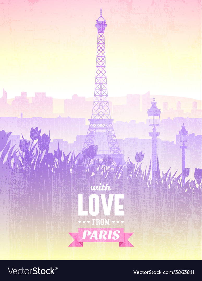 Poster with views of paris vector | Price: 1 Credit (USD $1)