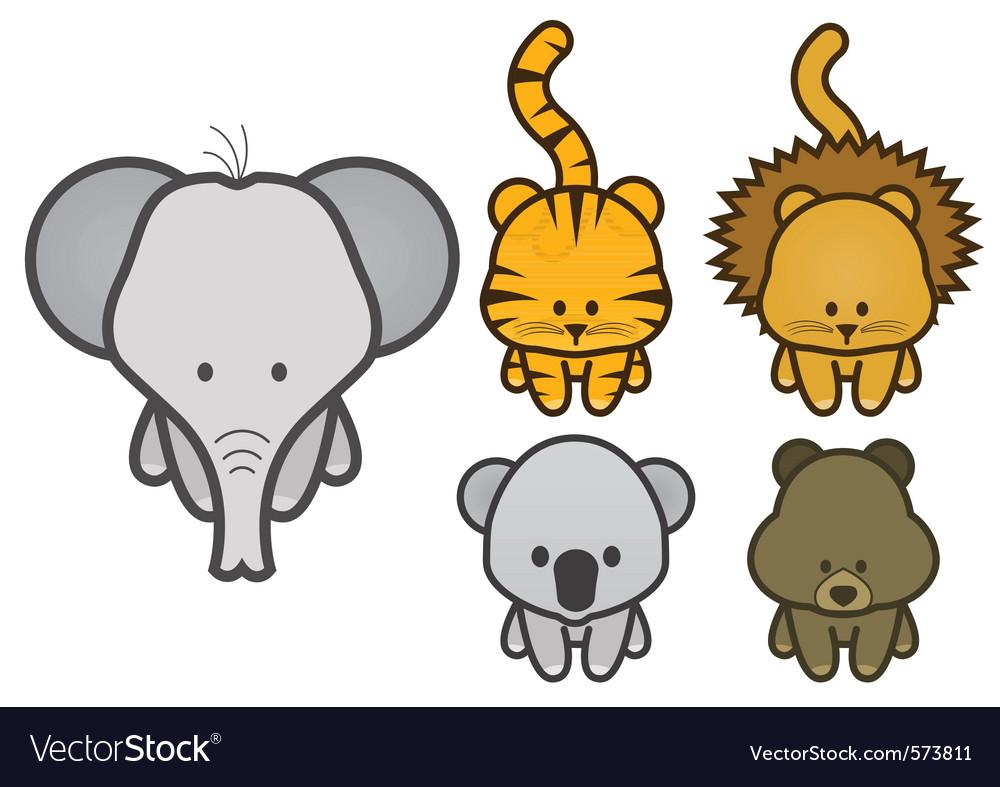 Set of cartoon wild or zoo animals vector | Price: 1 Credit (USD $1)