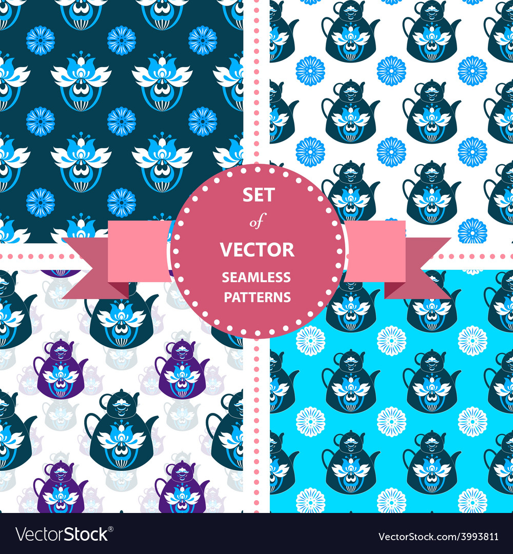 Set of patterns with flowers and tea vector | Price: 1 Credit (USD $1)