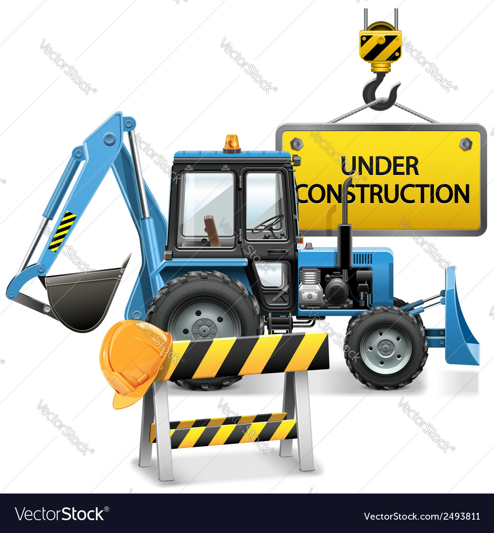 Under construction concept with tractor vector | Price: 3 Credit (USD $3)