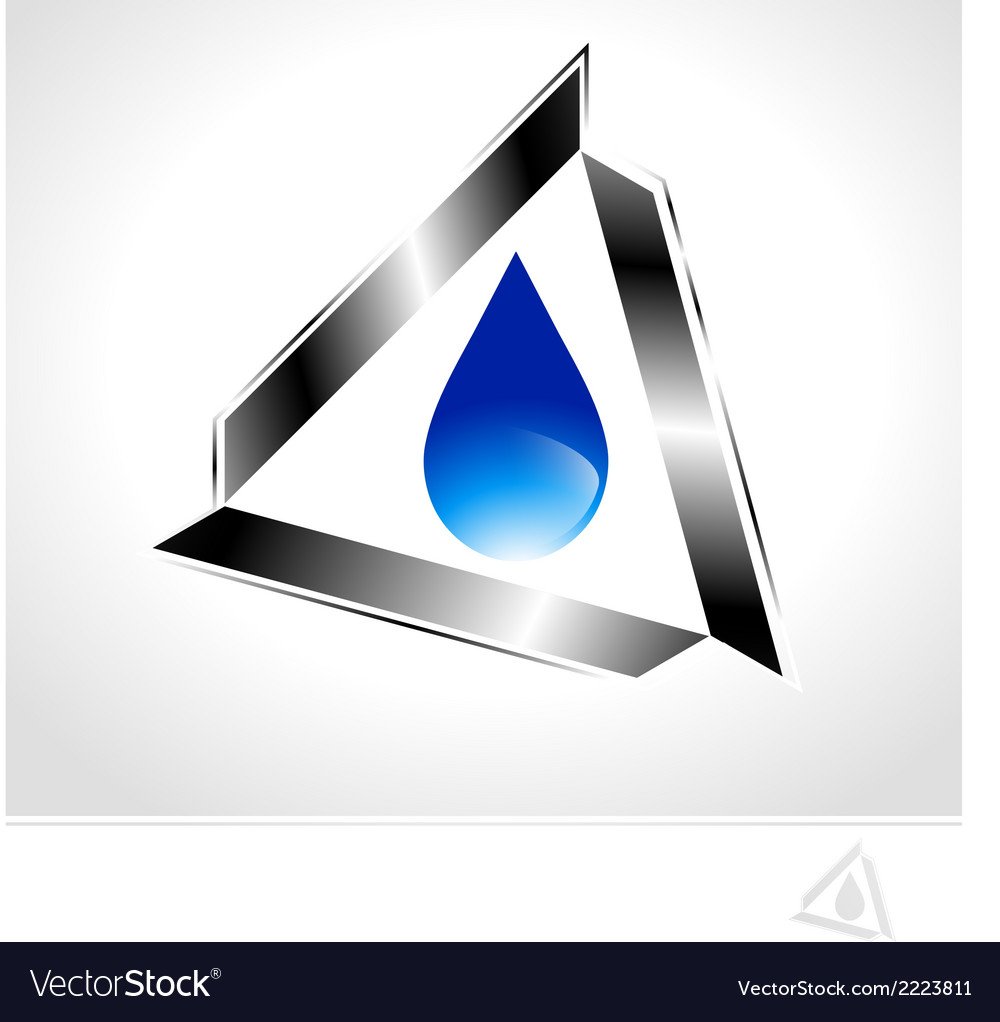 Water drop design in metal triangle vector | Price: 1 Credit (USD $1)