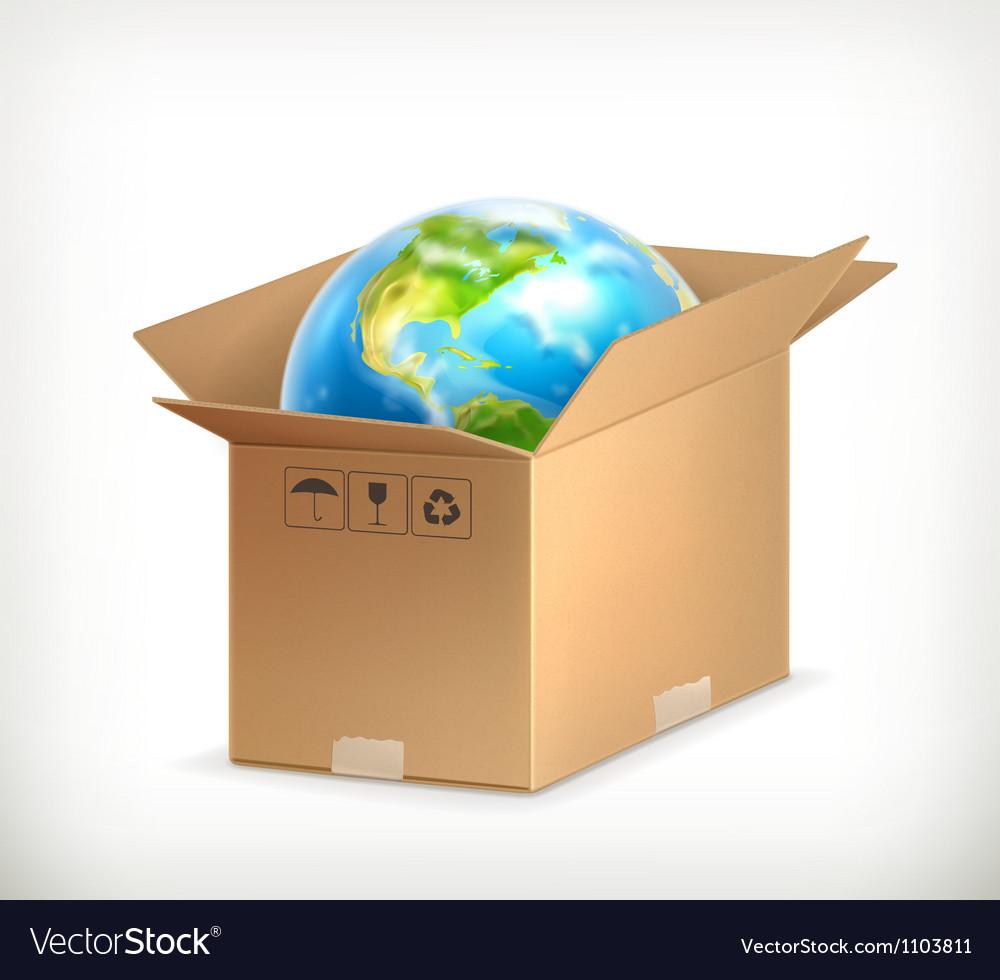 World in box vector | Price: 1 Credit (USD $1)
