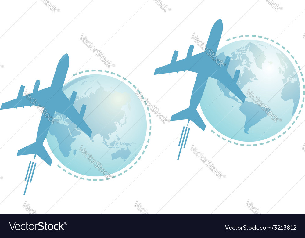Airplane and globe set vector | Price: 1 Credit (USD $1)