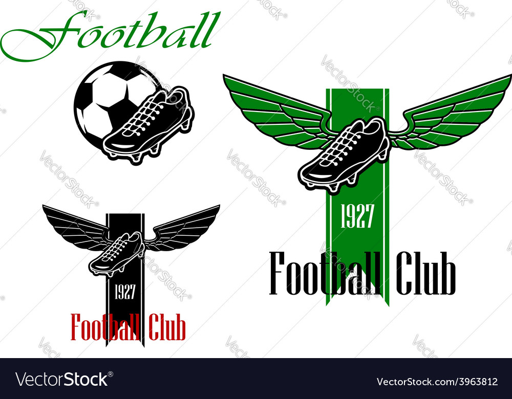 Black and green football or soccer emblems vector | Price: 1 Credit (USD $1)