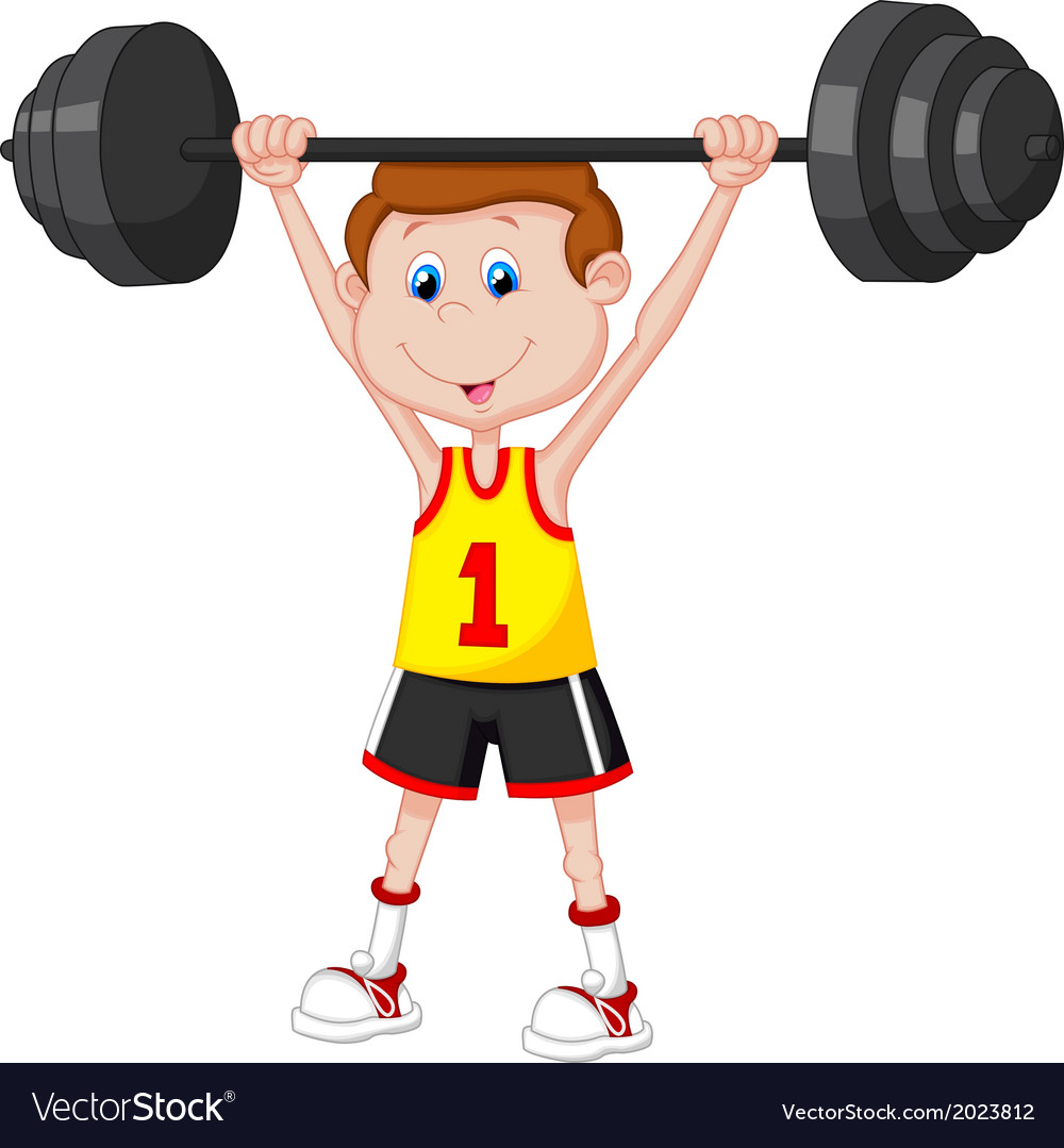 Cartoon man lifting barbell vector | Price: 1 Credit (USD $1)