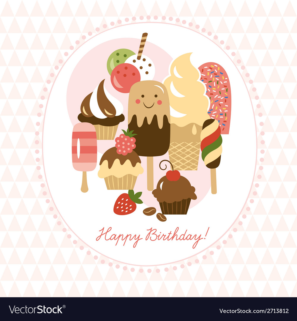 Greeting card with cute ice-cream and cakes vector | Price: 1 Credit (USD $1)