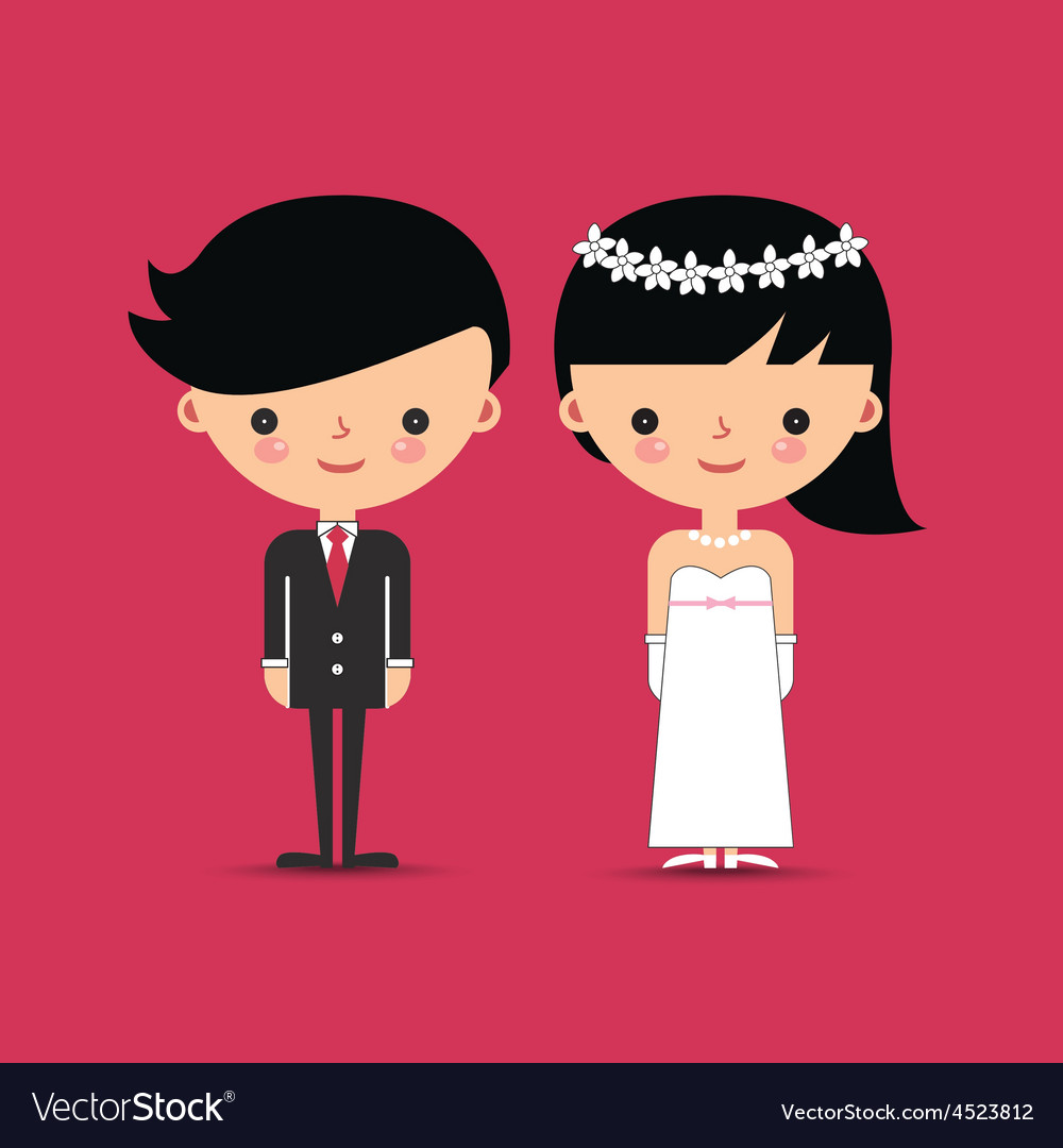 Groom and bride wedding characters vector | Price: 1 Credit (USD $1)