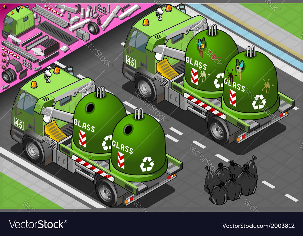 Isometric glass garbage truck with container in vector | Price: 1 Credit (USD $1)
