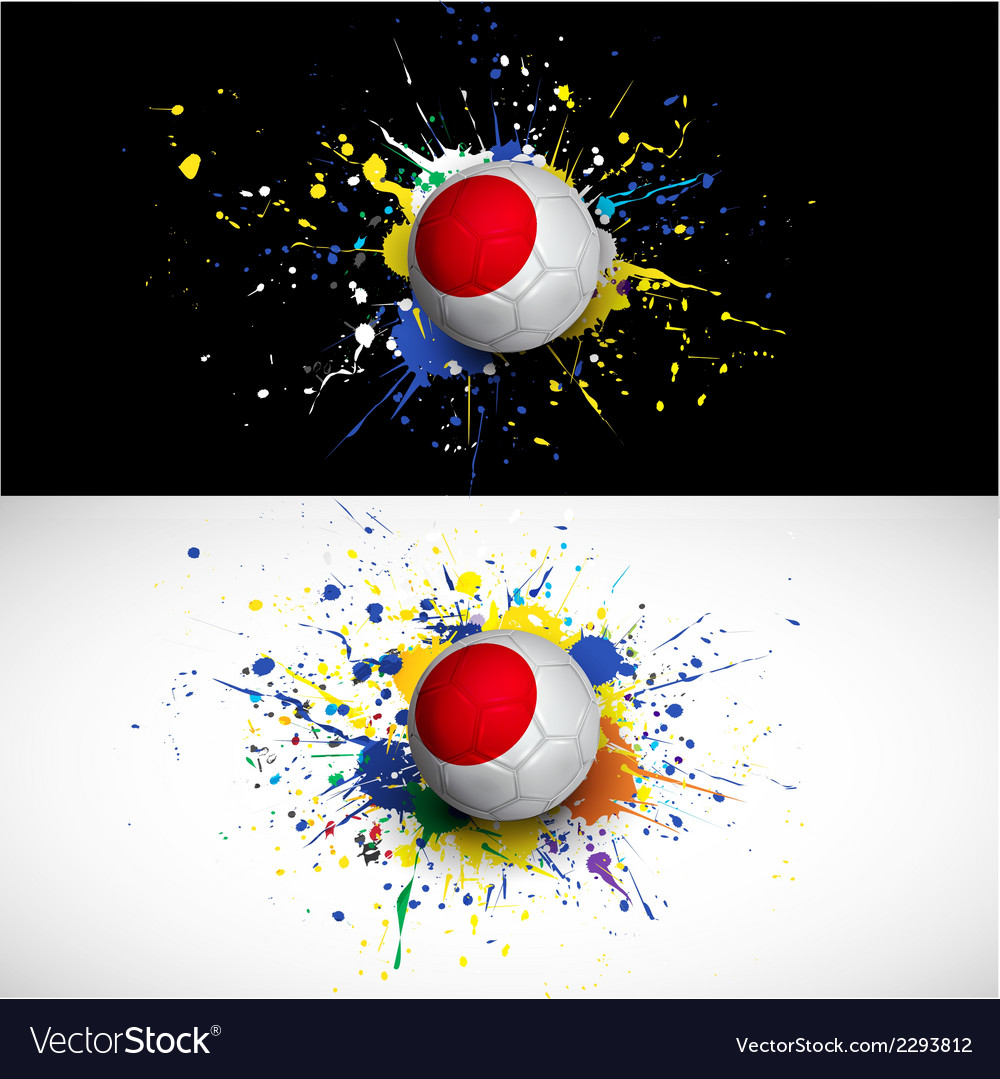 Japan flag with soccer ball dash on colorful vector | Price: 1 Credit (USD $1)