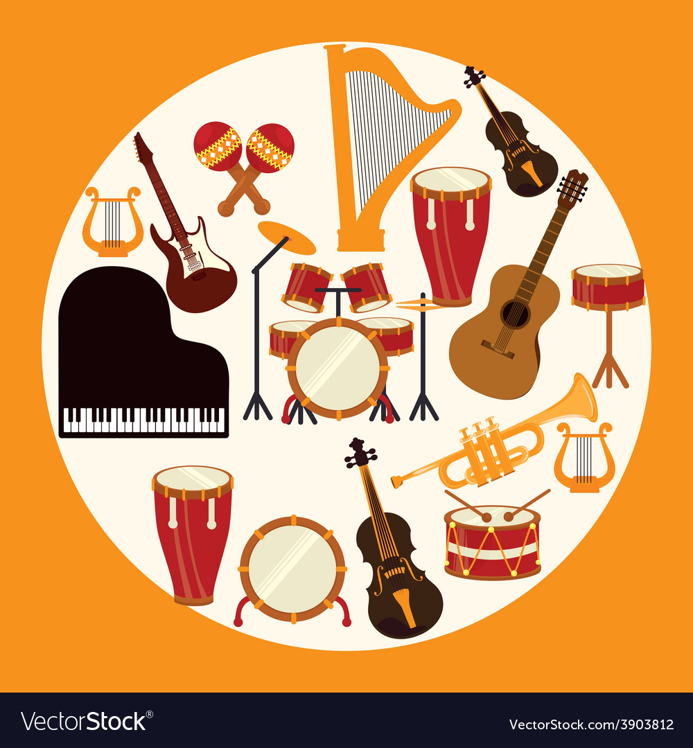 Music design over yellow background vector | Price: 1 Credit (USD $1)