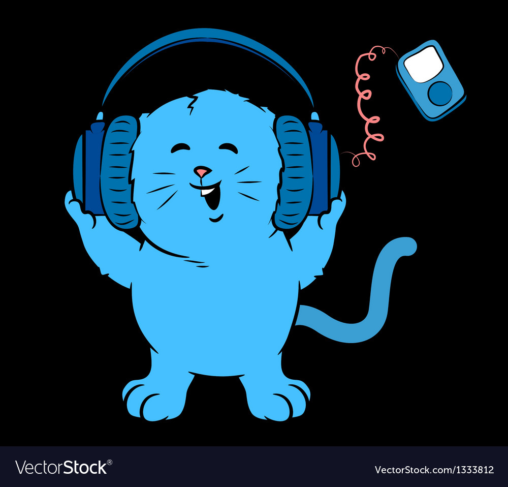 Music kitten vector | Price: 1 Credit (USD $1)