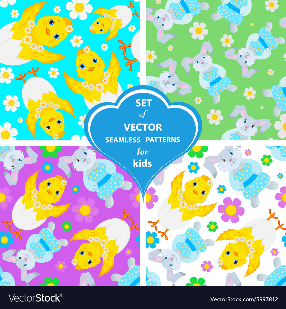 Set of patterns with rabbits flowers and vector | Price: 1 Credit (USD $1)