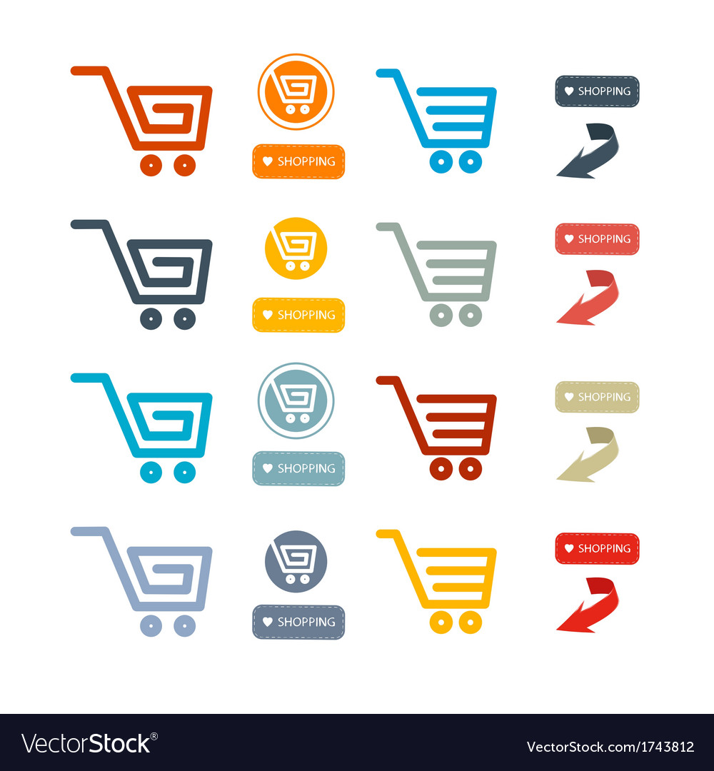 Shopping cart basket web symbols icons set vector | Price: 1 Credit (USD $1)