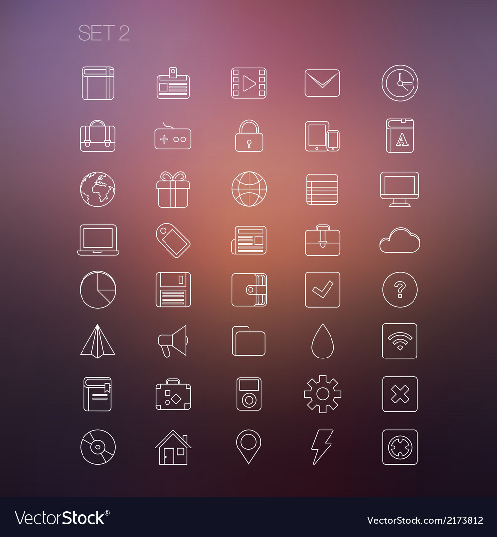 Thin icon set 2 vector | Price: 1 Credit (USD $1)