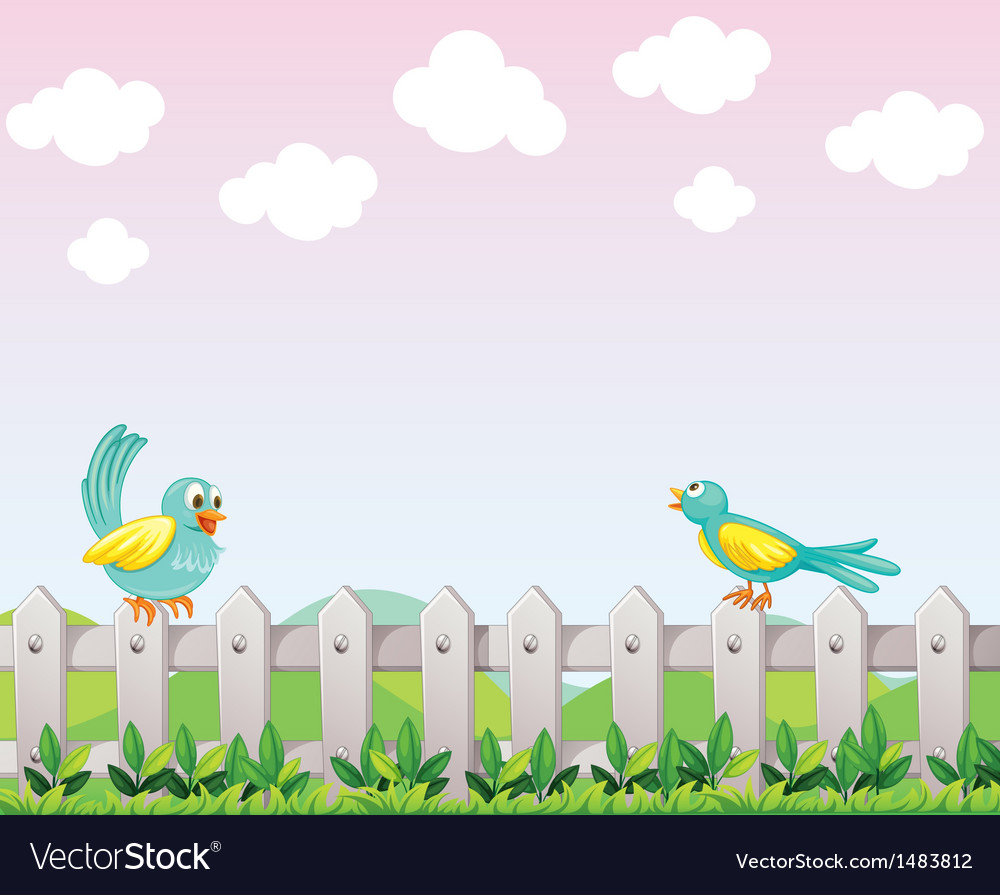 Two birds above the fence vector | Price: 1 Credit (USD $1)