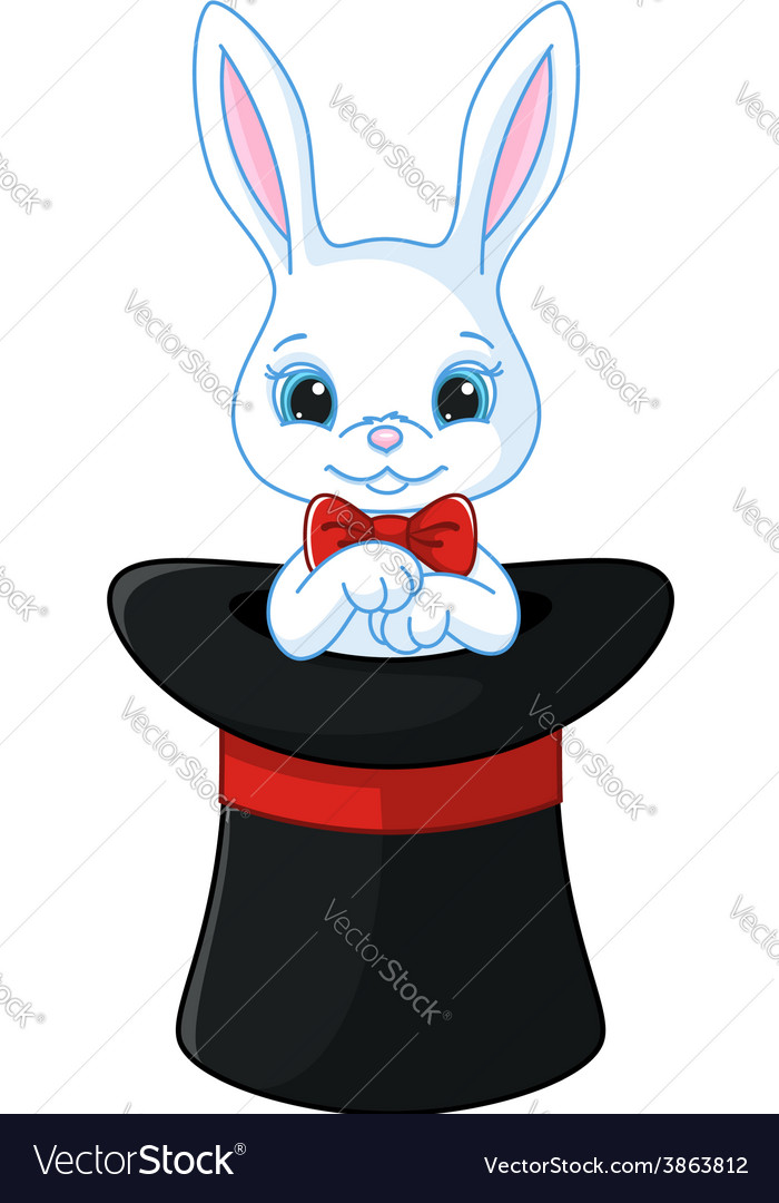 White rabbit in a hat vector | Price: 3 Credit (USD $3)