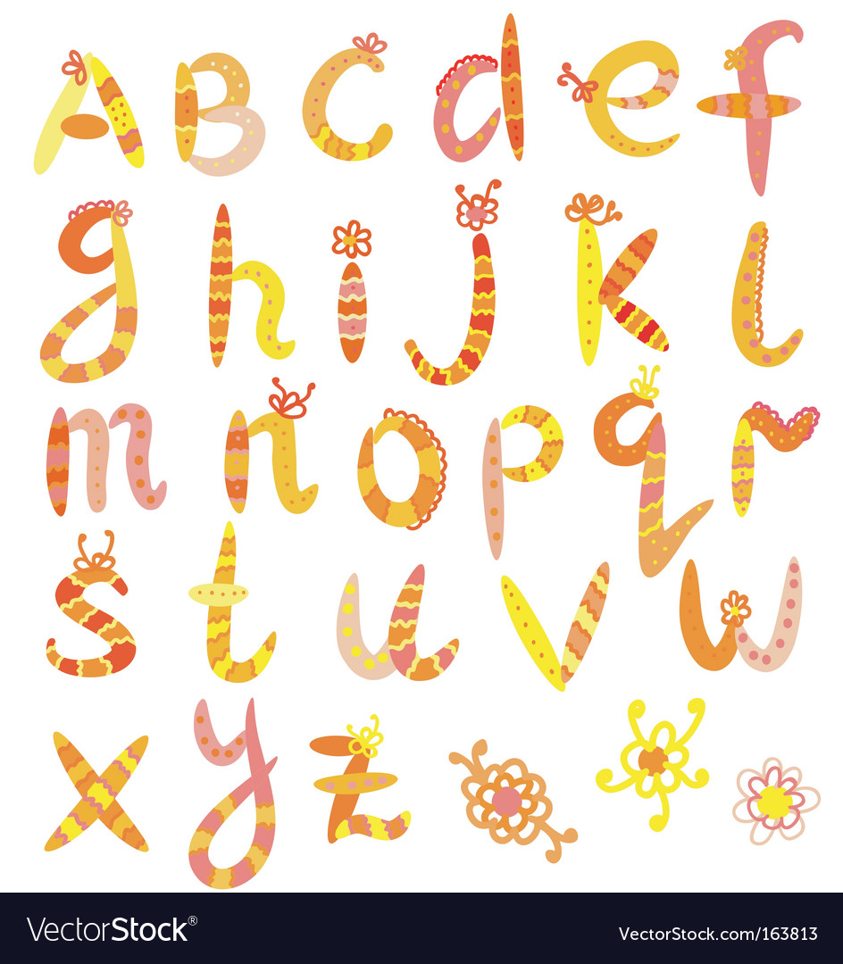 Alphabet set in bright colors vector | Price: 1 Credit (USD $1)