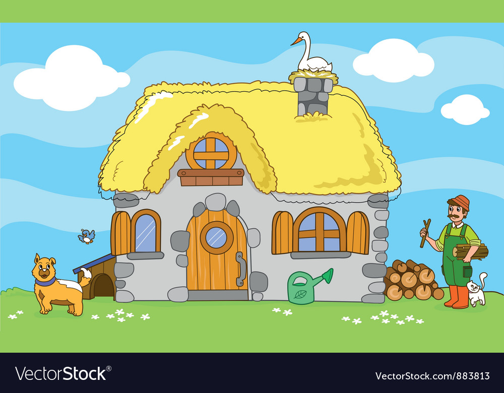 Ancient farm with farmer and animals vector   Price: 1 Credit (USD $1)
