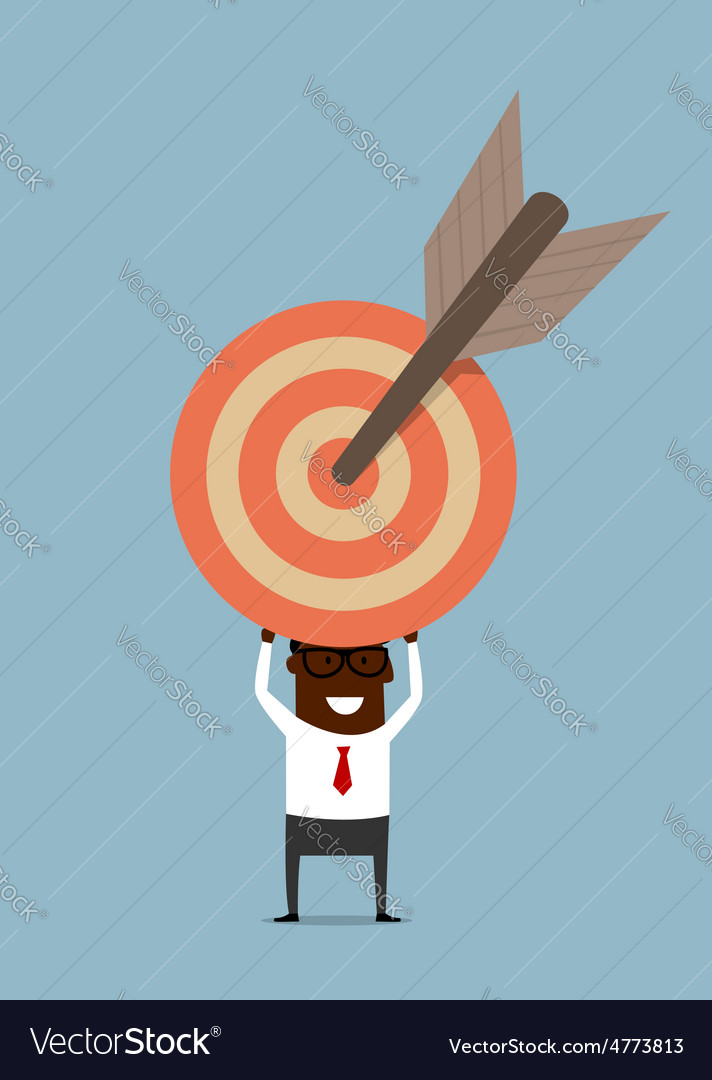 Black businessman with target and arrow vector | Price: 1 Credit (USD $1)