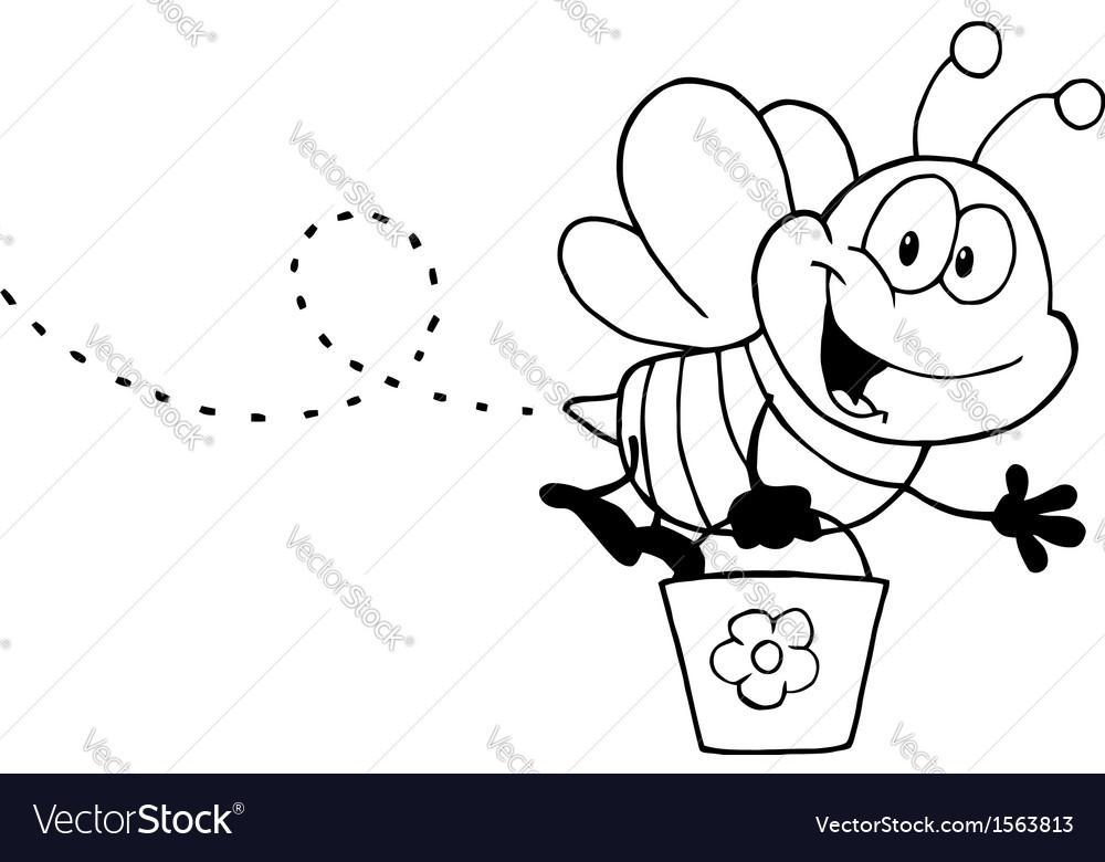 Cartoon bee with pollen vector | Price: 1 Credit (USD $1)