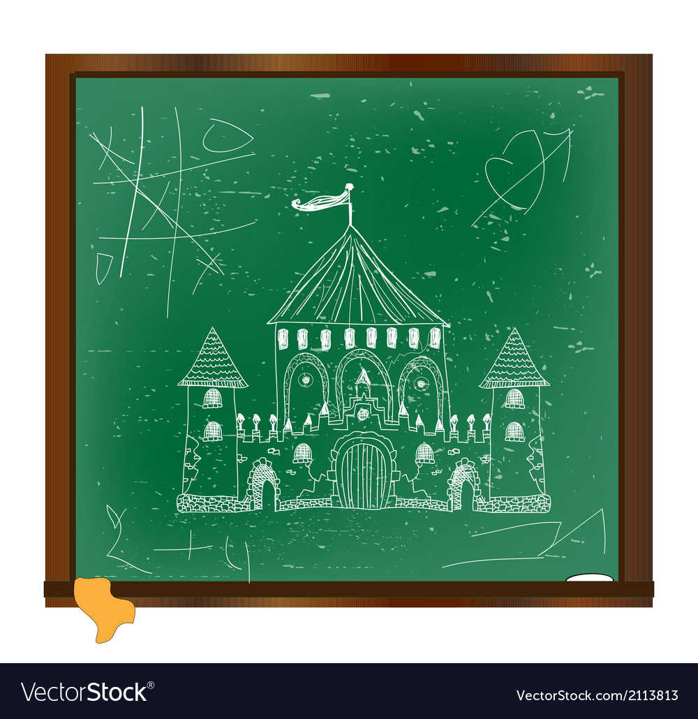 Castle drawing on blackboard art vector | Price: 1 Credit (USD $1)