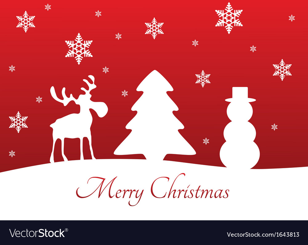 Christmas tree reindeer snowman vector | Price: 1 Credit (USD $1)