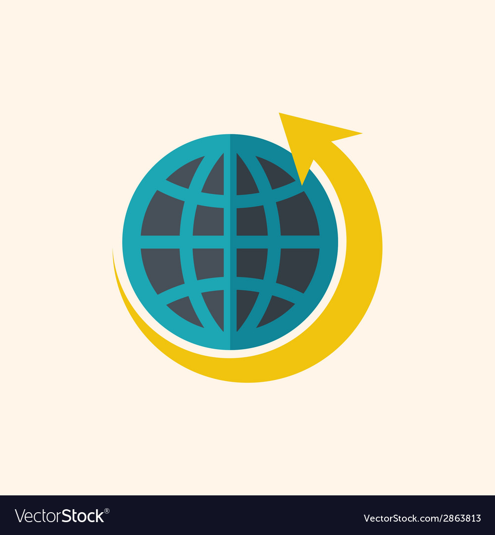 Green world flat icon vector | Price: 1 Credit (USD $1)