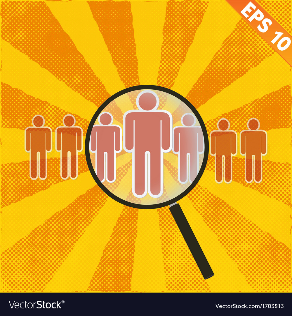 Magnifier enlarges human - - eps10 vector | Price: 1 Credit (USD $1)