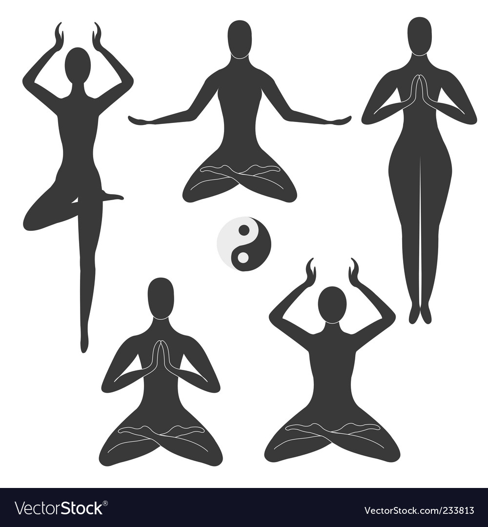 Meditation poses vector | Price: 1 Credit (USD $1)