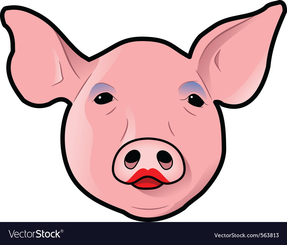 Pig with lipstick vector | Price: 1 Credit (USD $1)