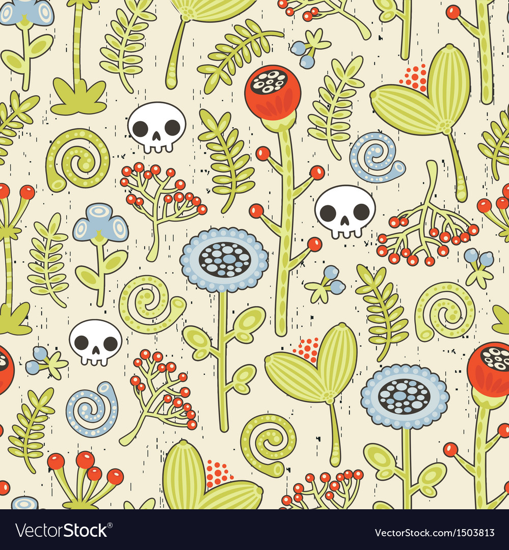 Skulls and flowers seamless background vector | Price: 1 Credit (USD $1)