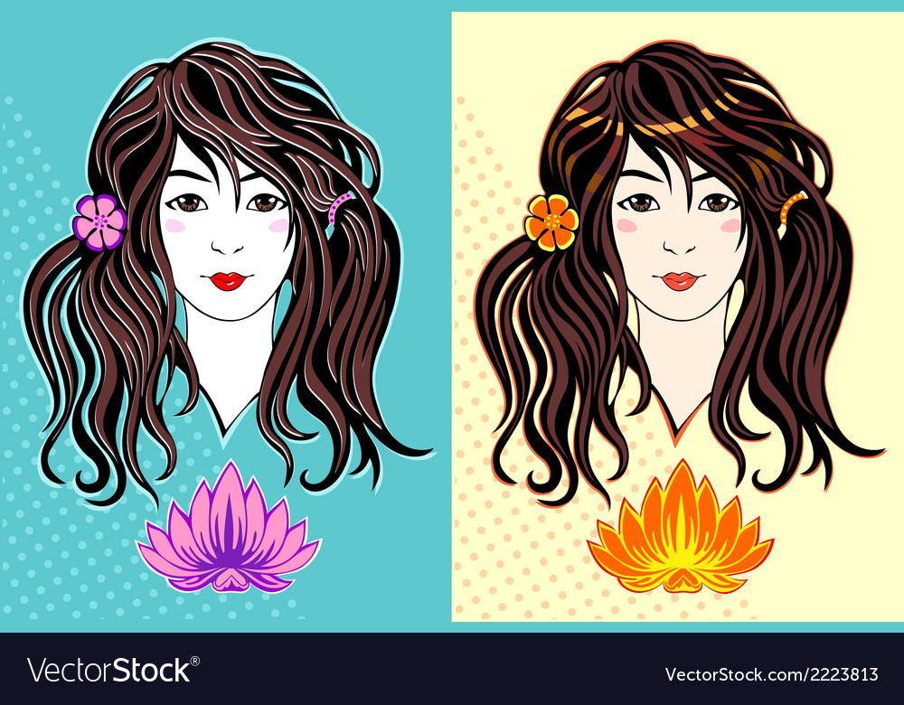 Young girl with long hair vector | Price: 1 Credit (USD $1)
