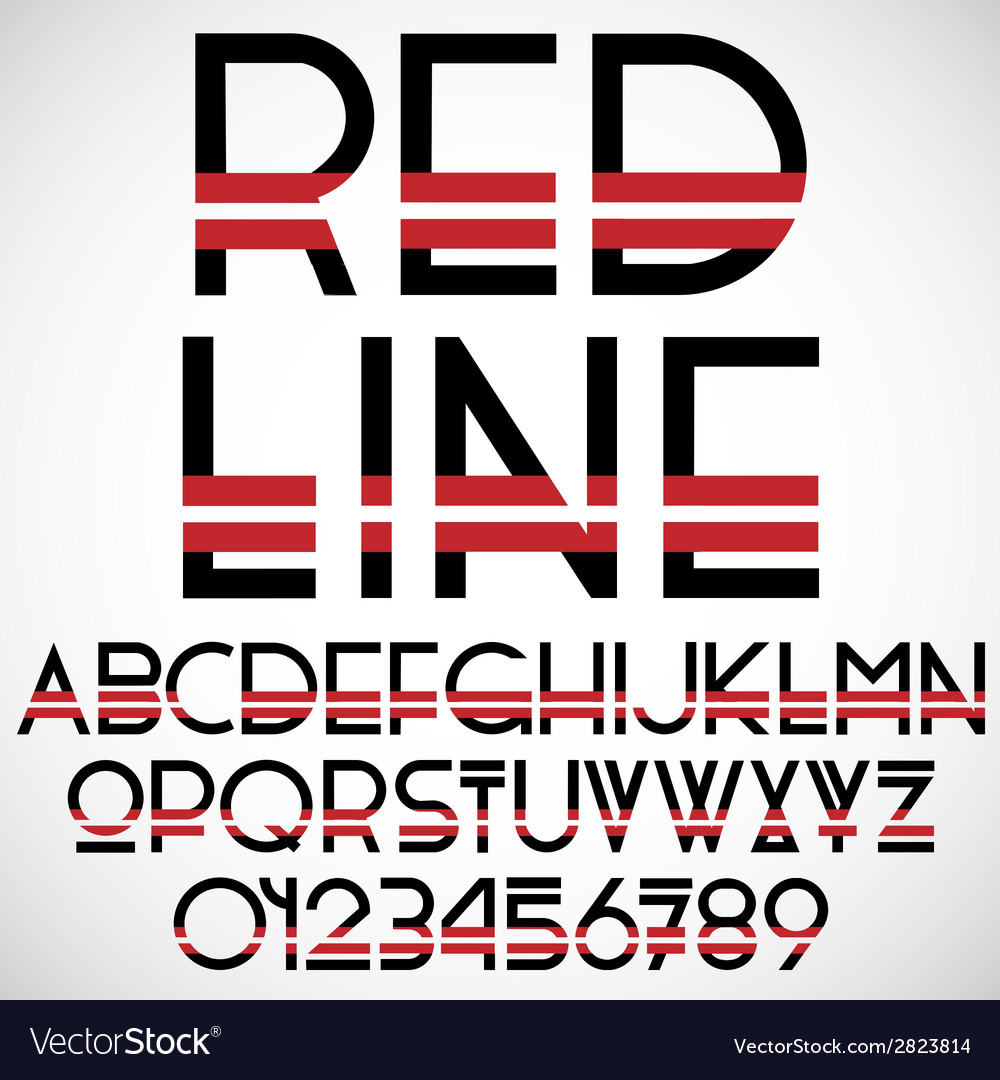 Black and red font with numbers vector | Price: 1 Credit (USD $1)