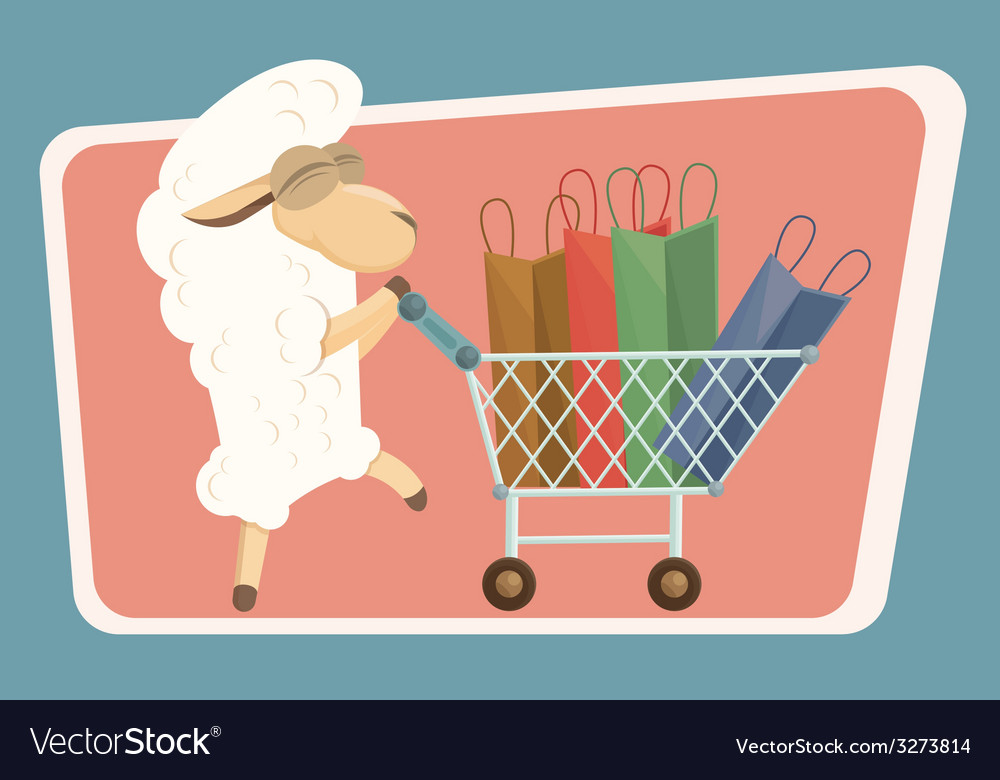 Card with baby lamb and shopping bags vector | Price: 1 Credit (USD $1)