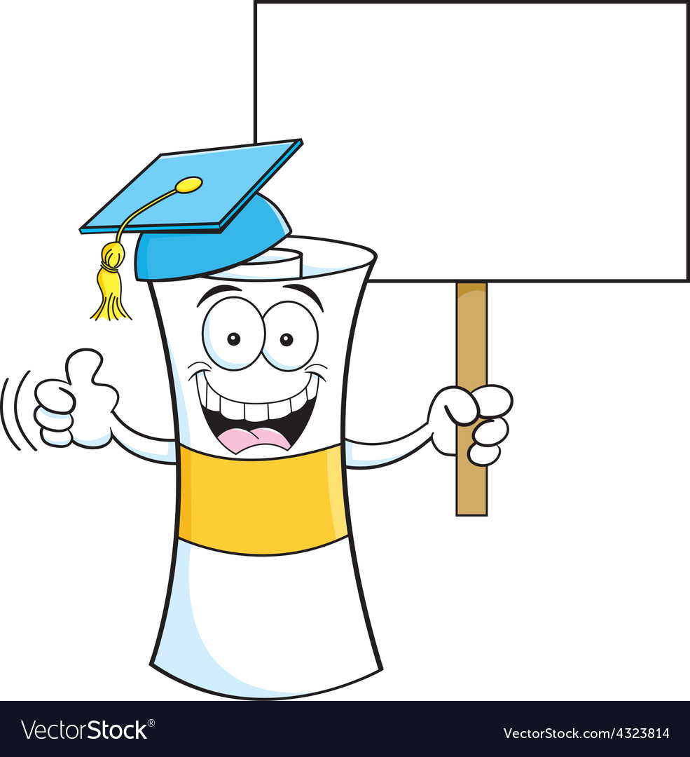 Cartoon diploma holding a sign vector | Price: 1 Credit (USD $1)