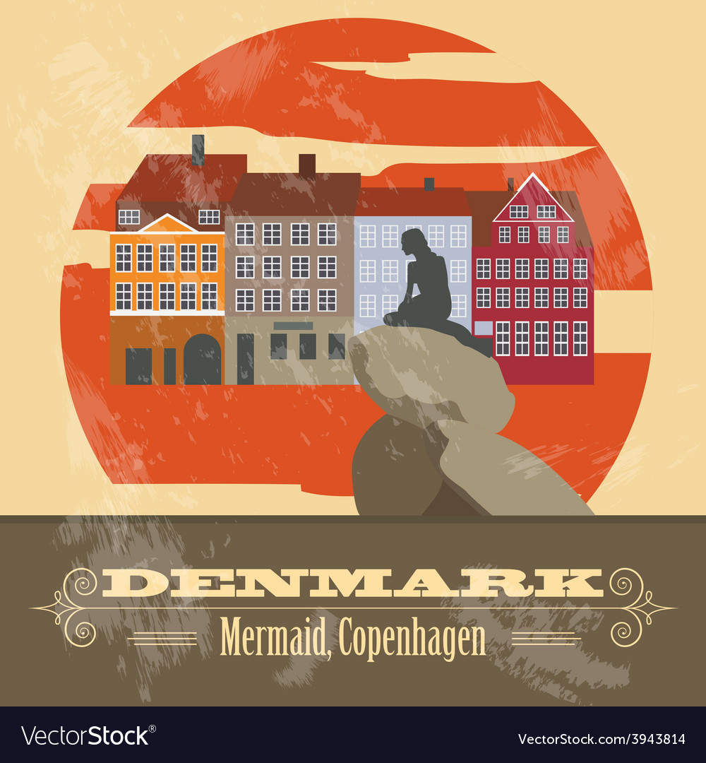 Denmark landmarks retro styled image vector | Price: 1 Credit (USD $1)