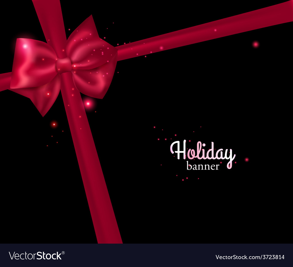 Elegant holiday banner with photorealistic red bow vector | Price: 1 Credit (USD $1)