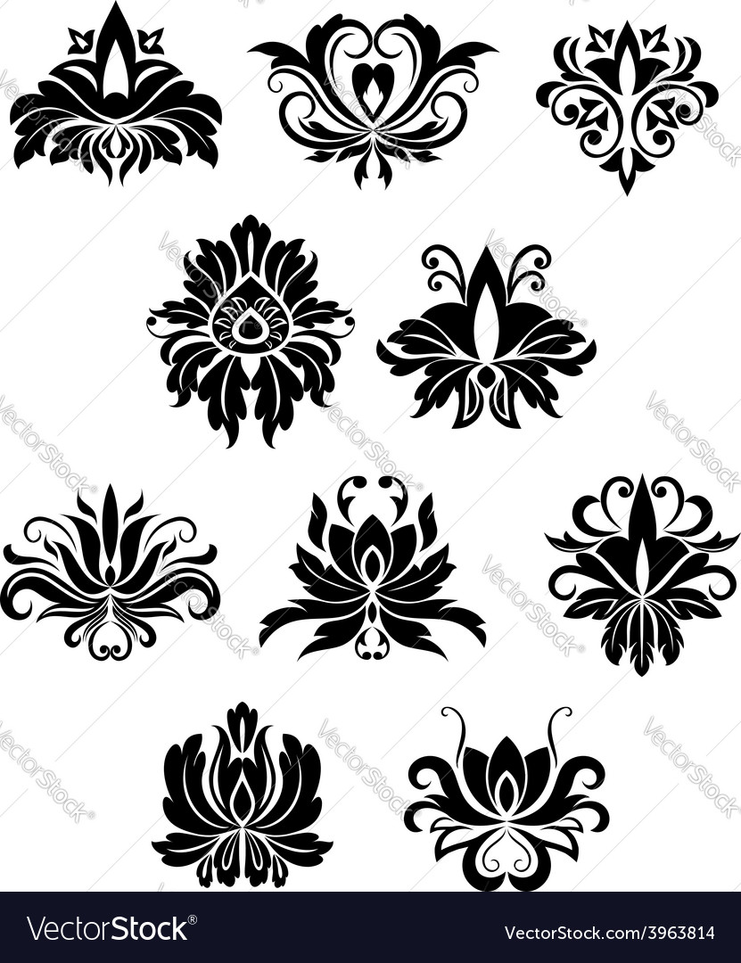 Floral design elements and flowers vector | Price: 1 Credit (USD $1)
