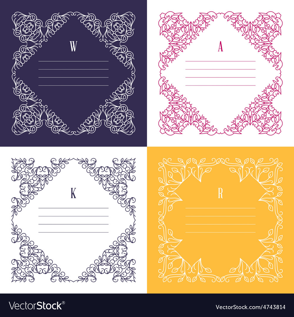 Floral frame mono line style design template vector | Price: 1 Credit (USD $1)