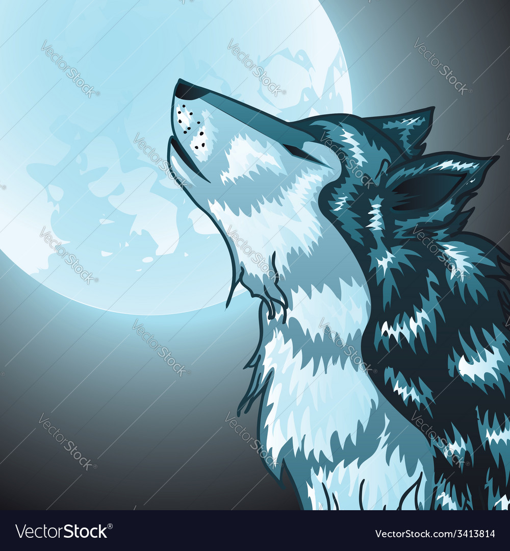 Howling wolf head vector | Price: 1 Credit (USD $1)