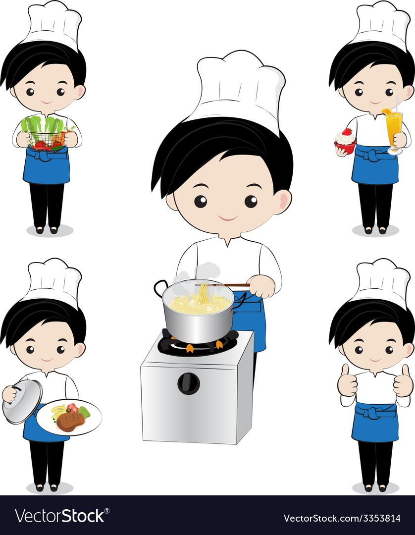 Little boy chef vector | Price: 1 Credit (USD $1)