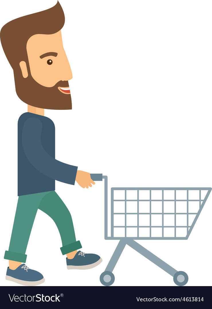 Man with empty cart vector | Price: 1 Credit (USD $1)