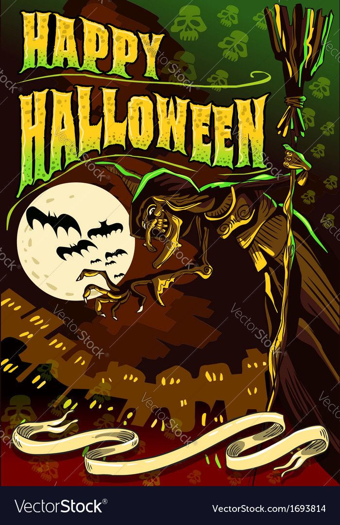 Poster invite for halloween party vector | Price: 3 Credit (USD $3)