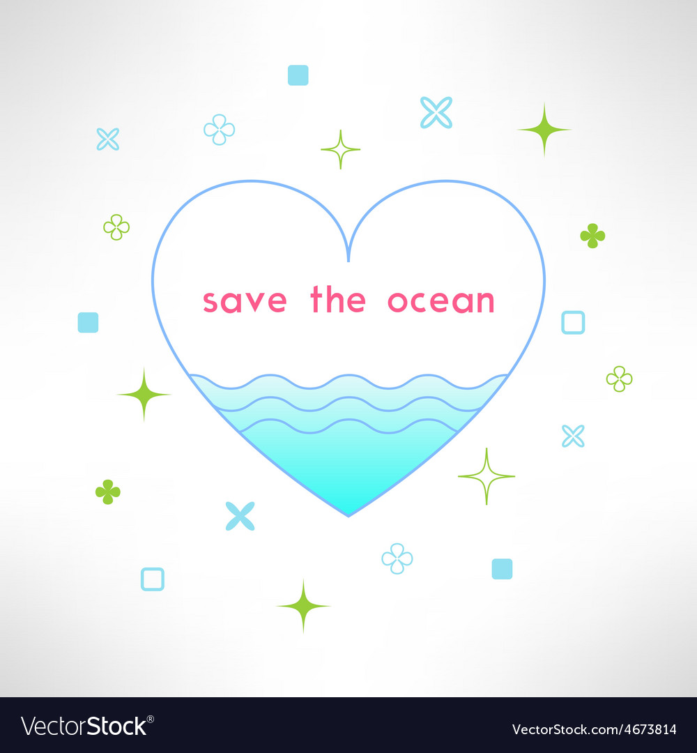 Save the ocean background in modern flat vector | Price: 1 Credit (USD $1)