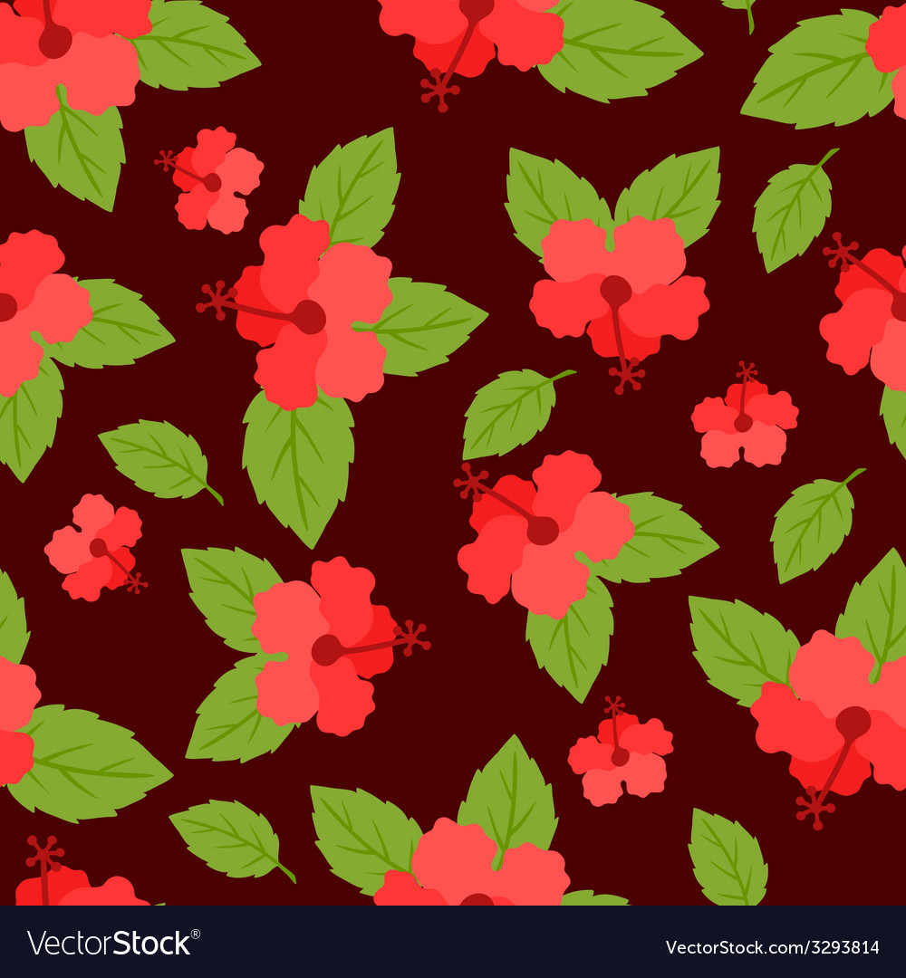 Seamless tropical pattern with stylized hibiscus vector | Price: 1 Credit (USD $1)