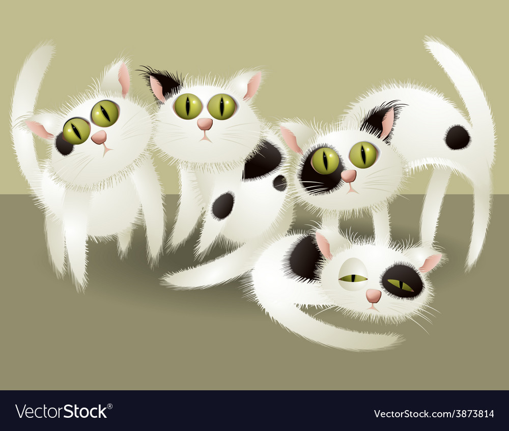 White cute cats vector | Price: 3 Credit (USD $3)