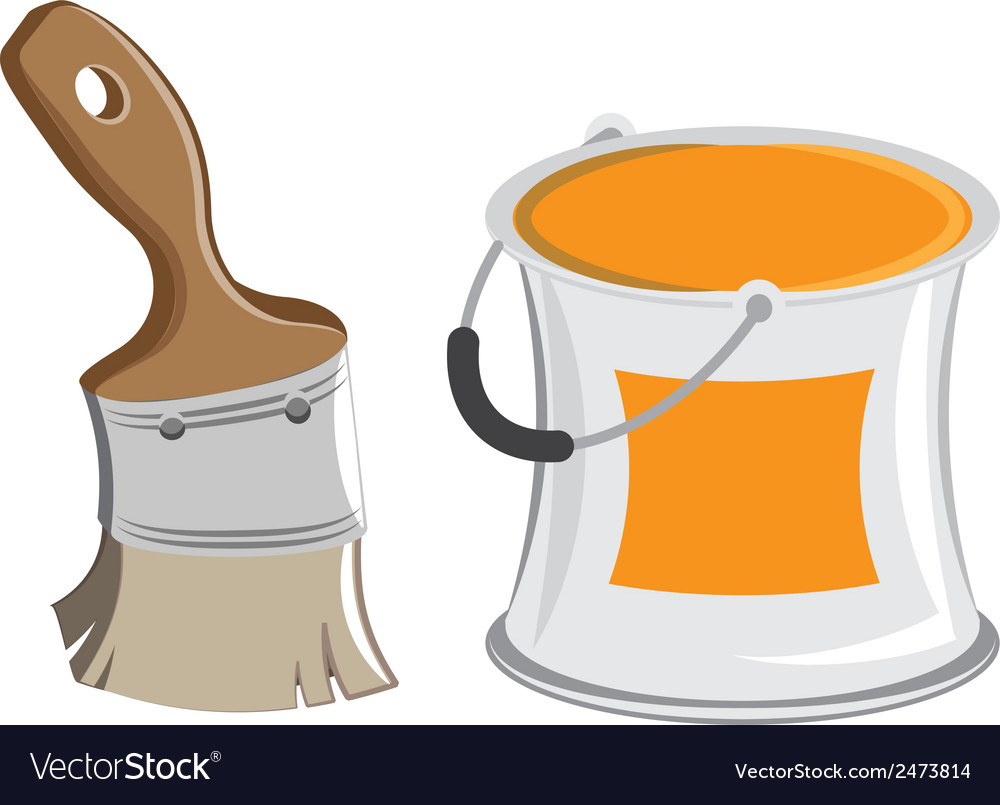 Wide paintbrush and cans cartoon vector | Price: 1 Credit (USD $1)