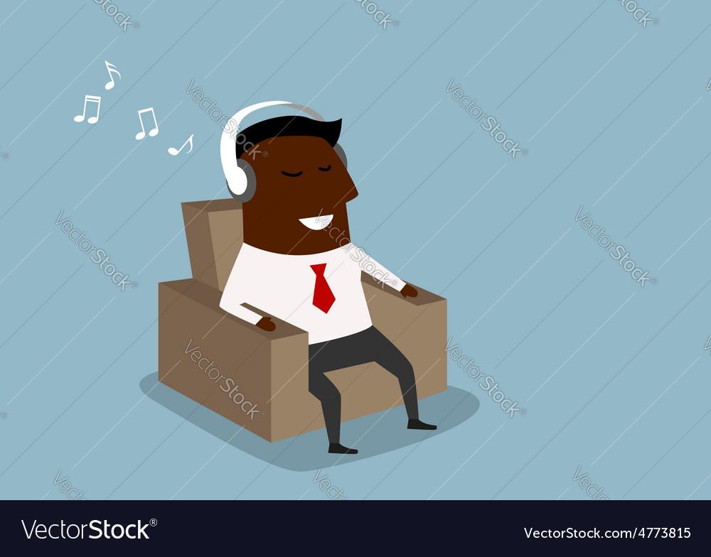Black businessman listening to music on headphones vector | Price: 1 Credit (USD $1)