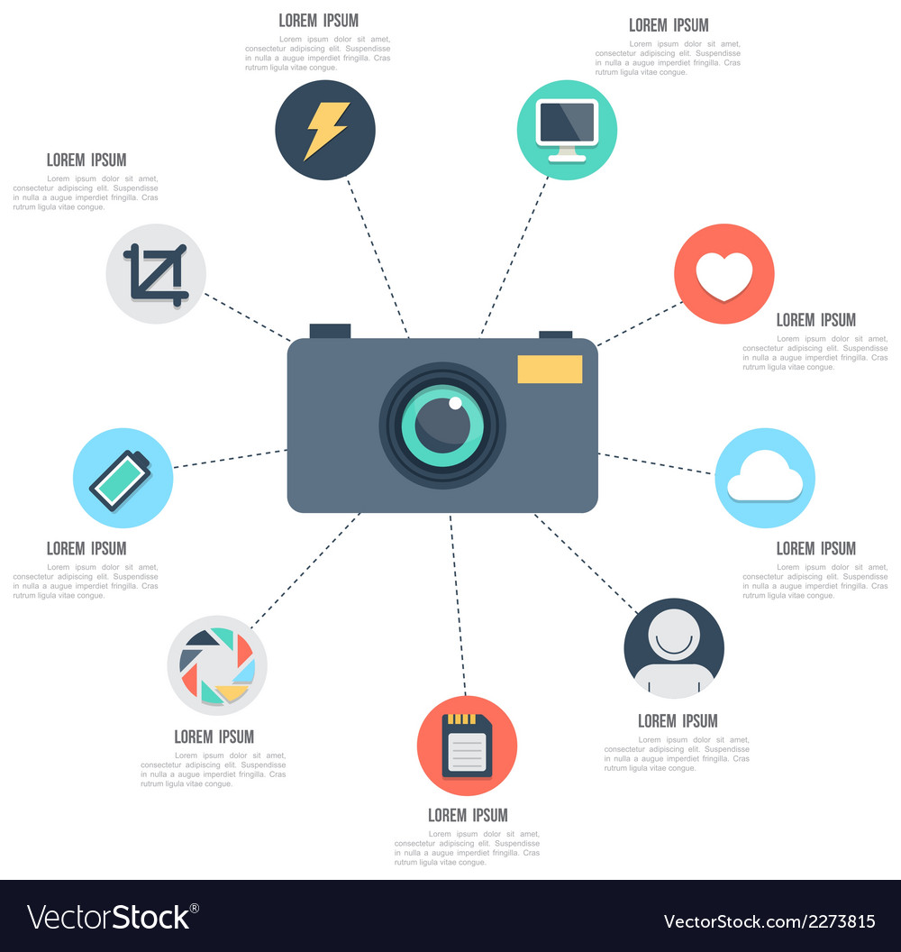 Camera with icons template vector | Price: 1 Credit (USD $1)