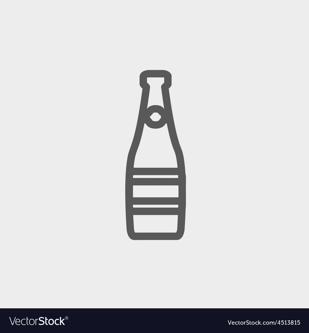 Champagne bottle thin line icon vector | Price: 1 Credit (USD $1)